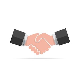 Farbiges handshake-symbol auf weißem hintergrund
