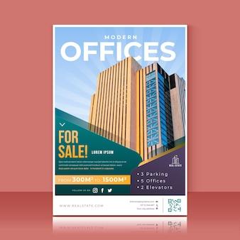 Farbiges immobilienplakat mit farbverlauf mit foto Kostenlosen Vektoren