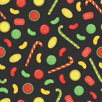 Farbiges nahtloses muster mit weihnachts- oder neujahrselementen auf schwarzem strukturiertem hintergrund