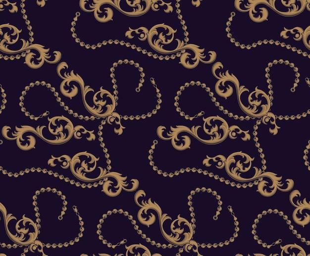 Farbiges nahtloses muster von barockelementen und -ketten auf dem dunklen hintergrund. der hintergrund befindet sich in einer separaten gruppe. ideal zum bedrucken von stoffen.