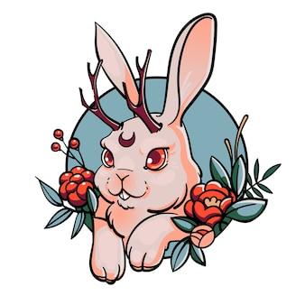 Farbiges porträt des weißen niedlichen kaninchens mit geweih, umgeben von blumen, runder rahmen, lokalisiert auf weißem hintergrund. jackalope oder jackrabbit. chimäre.
