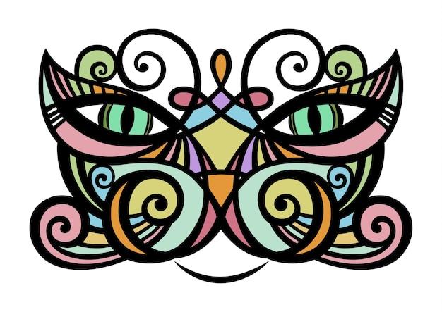 Farbiges porträt einer katze eine petline-kunstzeichnung von hand tattoo dekorativ