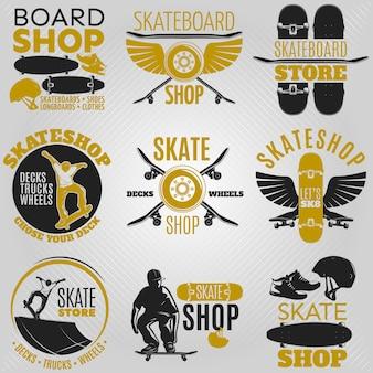 Farbiges skateboard-emblem in verschiedenen formen mit beschreibungen board-shop-skateboard-shop-skateshop-vektorillustration