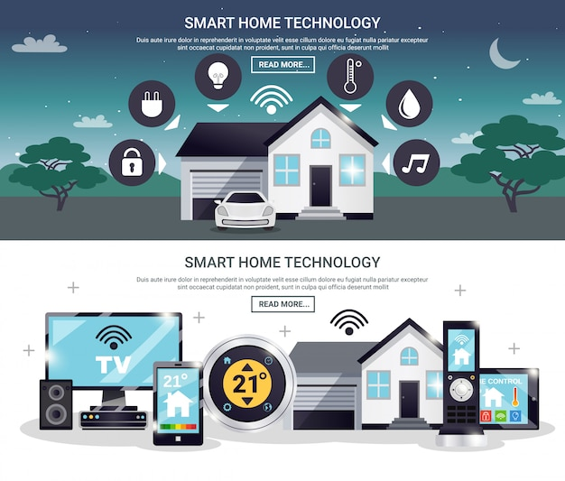 Farbiges smart home banner set