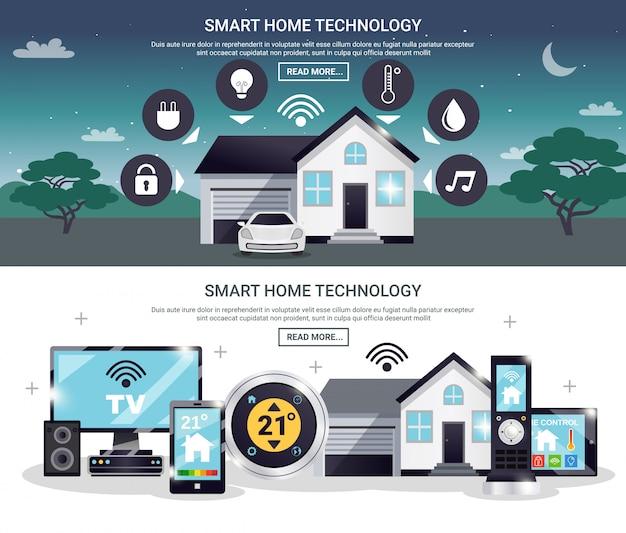 Farbiges smart home banner set