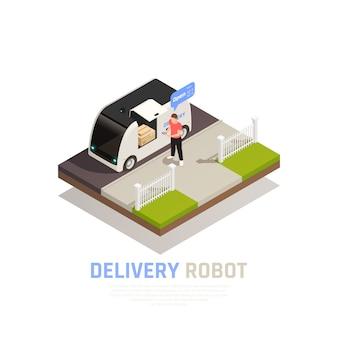 Farbiges und isometrisches smart city-kompositionsbanner mit überschrift des lieferroboters und vektorillustration des lebensmittelanhängers