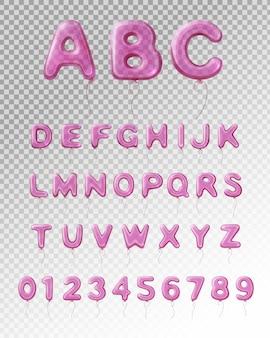 Farbiges und lokalisiertes englisches alphabet des hellpurpurnen realistischen ballons mit transparentem hintergrund