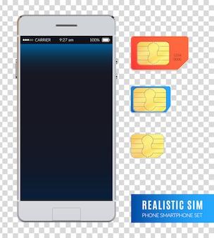 Farbiges und realistisches sim-telefon-smartphone-symbolset mit verschiedenen größen von sim-karten zur geräteillustration