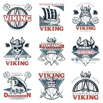 Farbiges wikinger-emblem-set