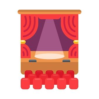 Farbikone des theaters. der vorhang und der scheinwerfer leuchten auf der bühne. illustration.