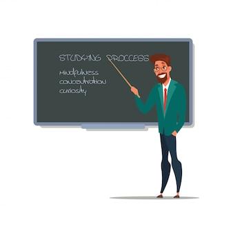 Farbillustration der schulunterrichtskarikatur, männlicher lehrer, der mit zeiger nahe tafel, tutor, erziehercharakter, grundschulbildung steht