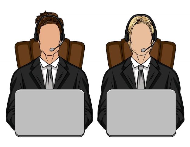 Farbillustration eines kerls, der im büro auf stuhl vor computer sitzt. ein team von zwei personen in einem anzug arbeitet im kundendienstbüro. vorlage für service center