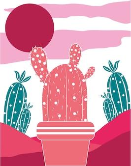 Farbkaktuspflanzen natürliche gartenillustration