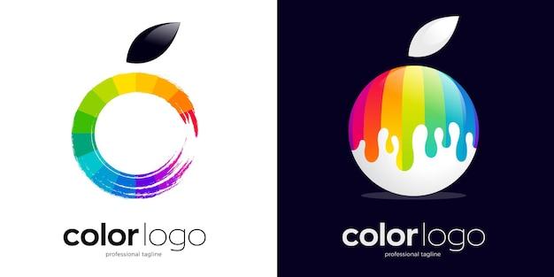 Farblogo-design mit zwei verschiedenen stilen