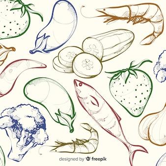 Farblose hand gezeichneter gesunder lebensmittelhintergrund