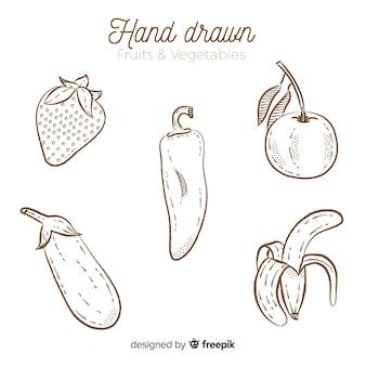 Farblose hand gezeichnetes gemüse und früchte eingestellt