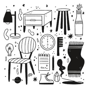Farblose illustrationen im flachen design