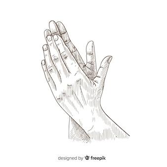 Farbloser hand gezeichneter applaus der weinlese