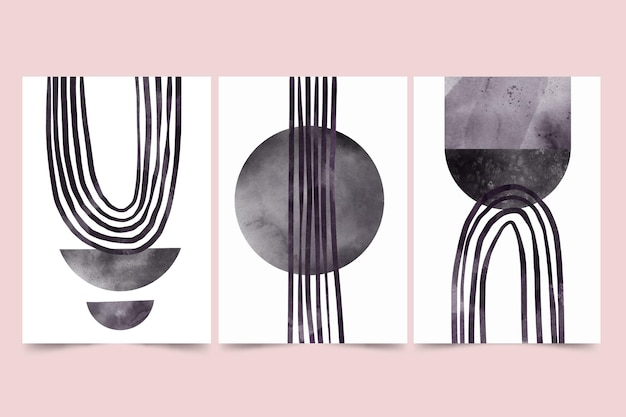 Farbloses abstraktes aquarellabdeckungspaket