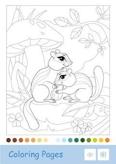 Farbloses konturbild eines streifenhörnchens, das unter dem pilz in einem wald sitzt, isoliert auf weiß wilde tiere im vorschulalter, malbuchillustrationen und entwicklungsaktivität