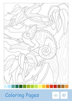 Farbloses, von punkt zu punkt verschleiertes chamäleon, das auf dem ast im regenwald sitzt, lokalisiert auf weißem hintergrund und vorgeschlagene farbpalette unten.