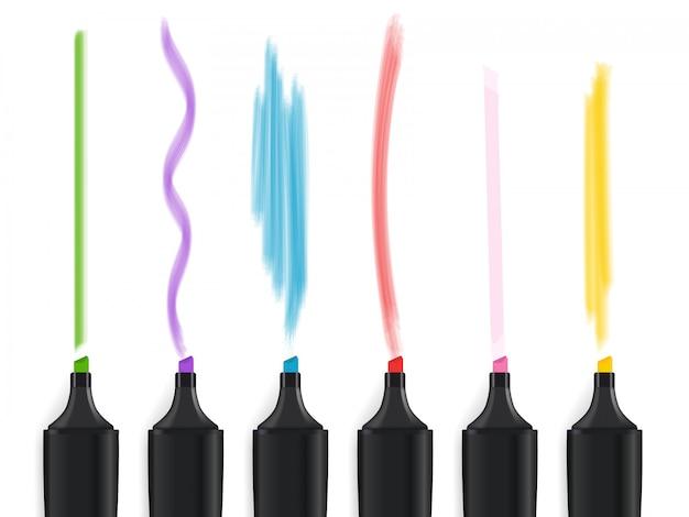 Farbmarkierungsstiftsatz lokalisiert auf weißem hintergrund. vektor-illustration