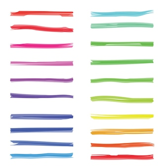 Farbmarkierungsstreifen. farbiger markierungsmarker auf weißem papier. satz farbmarkierungslinien, illustration der strichmarkierung