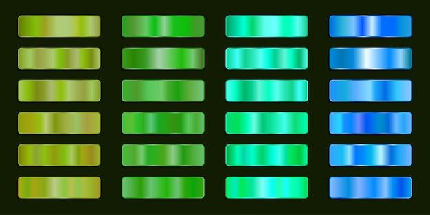 Farbpalette aus grünem metallic-stahl mit farbverlauf