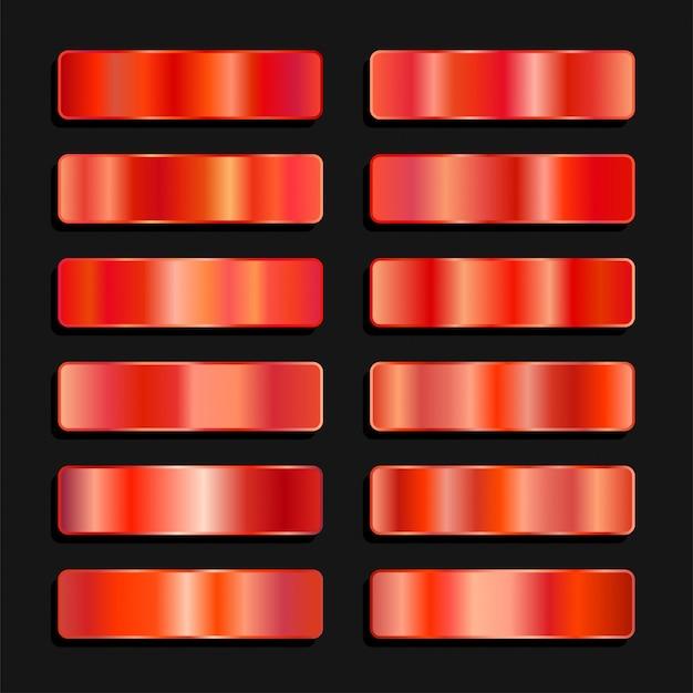 Farbpalette aus rotem orangefarbenem metallic-stahl mit farbverlauf