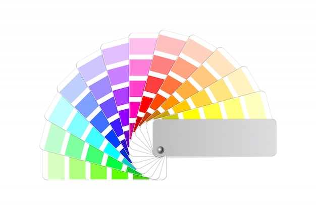 Farbpalette führung, licht und schatten tint probe musterbuch farbig aufgefächerten