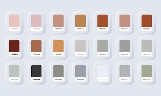Farbpalette. katalogmuster braun und grau in rgb hex. farbkatalog. neumorphic ui ux weiße benutzeroberfläche web-schaltfläche. neumorphismus.