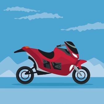 Farbplakatgebirgsschneelandschaft mit modernem motorrad