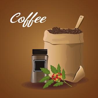 Farbplakatsack mit kaffeebohnen und glasbehälter für verkauf und blume