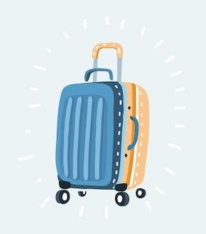 Farbplastikreisetasche mit verschiedenen reiseelementenvektorillustrationsreisekonzept