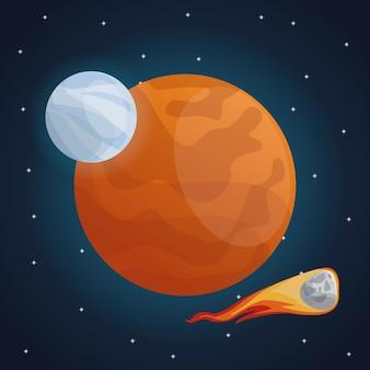 Farbraumlandschaftshintergrund mit meteor und ansicht marsplanet
