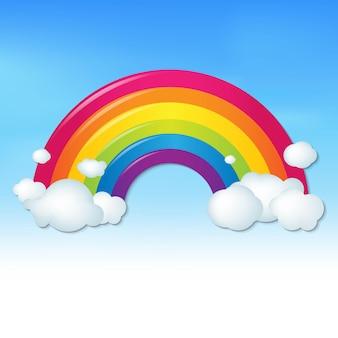 Farbregenbogen mit wolken und blauem himmel