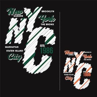 Farbsatz des nyc-symbolsymbols abstrakter grafischer typografievektor