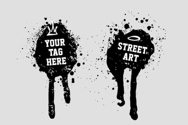 Farbspritzer aus sprühdose. kopieren sie platz für text. street-art-design-elemente. vektorgrafiken.