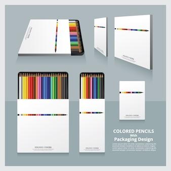 Farbstifte mit verpackungsdesign realistisch