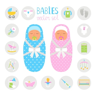 Farbsymbole für neugeborene. baby und mädchen mit spielzeug und flasche, hygieneartikeln und bunter sammlungsillustration des laufstalls