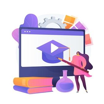 Farbtheorie online studieren. grundlagen des webdesigns, zeichentutorial, innenarchitekt. künstlerin-zeichentrickfigur mit bleistift.