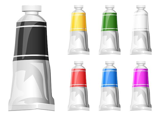 Farbtuben-design-illustration isoliert auf weißem hintergrund