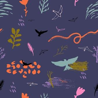 Farbvektor nahtloses muster mit vögeln, pflanzen und flecken. abstrakter handgezeichneter hintergrund.