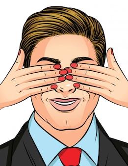 Farbvektorillustration eines mädchens bedeckte die augen ihres freundes mit ihren händen. der mann lächelt mit geschlossenen augen. ein mann und ein mädchen feiern geburtstag.