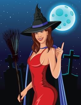 Farbvektorillustration für halloween. die hexe mit dem besen oben lächelnd und finger zeigend.