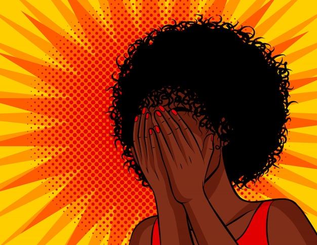 Farbvektorillustration im comic-pop-art-stil. die dunkelhäutige frau bedeckte ihr gesicht mit den händen