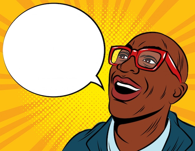Farbvektorillustration im pop-art-stil. afroamerikaner mann in brille und anzug. erstauntes männliches gesicht mit sprechblase.
