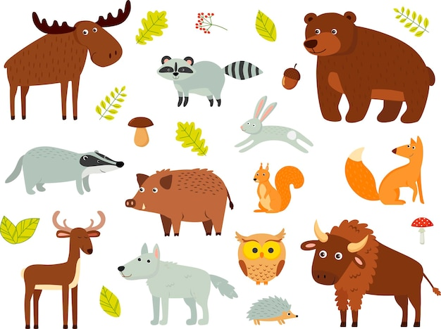 Farbvektorsatz waldtiere lokalisierter hintergrund. ein moos, ein bär, ein hirsch, ein bison, ein dachs, ein fuchs, ein igel, eine eule, ein hase, ein waschbär, ein wolf.