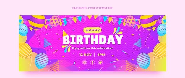 Farbverlauf bunte geburtstags-facebook-cover Kostenlosen Vektoren