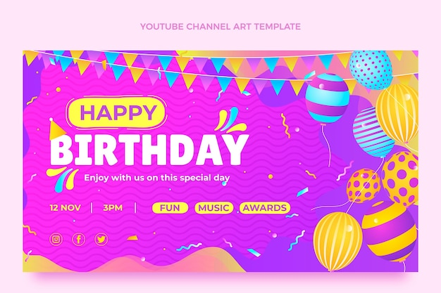 Farbverlauf bunte geburtstags-youtube-kanalkunst